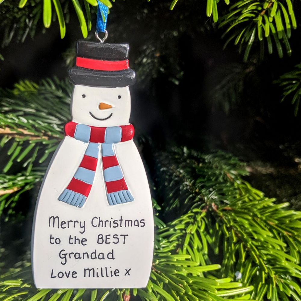 Personalised Snowman with Blue & Red Scarf Christmas Tree Decoration